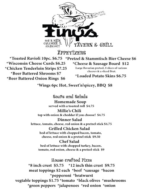 Appetizer, Soups and Salads, and House Crafted Pizza Menu