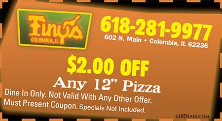 """$2 off any 12"""" Pizza Coupon"""